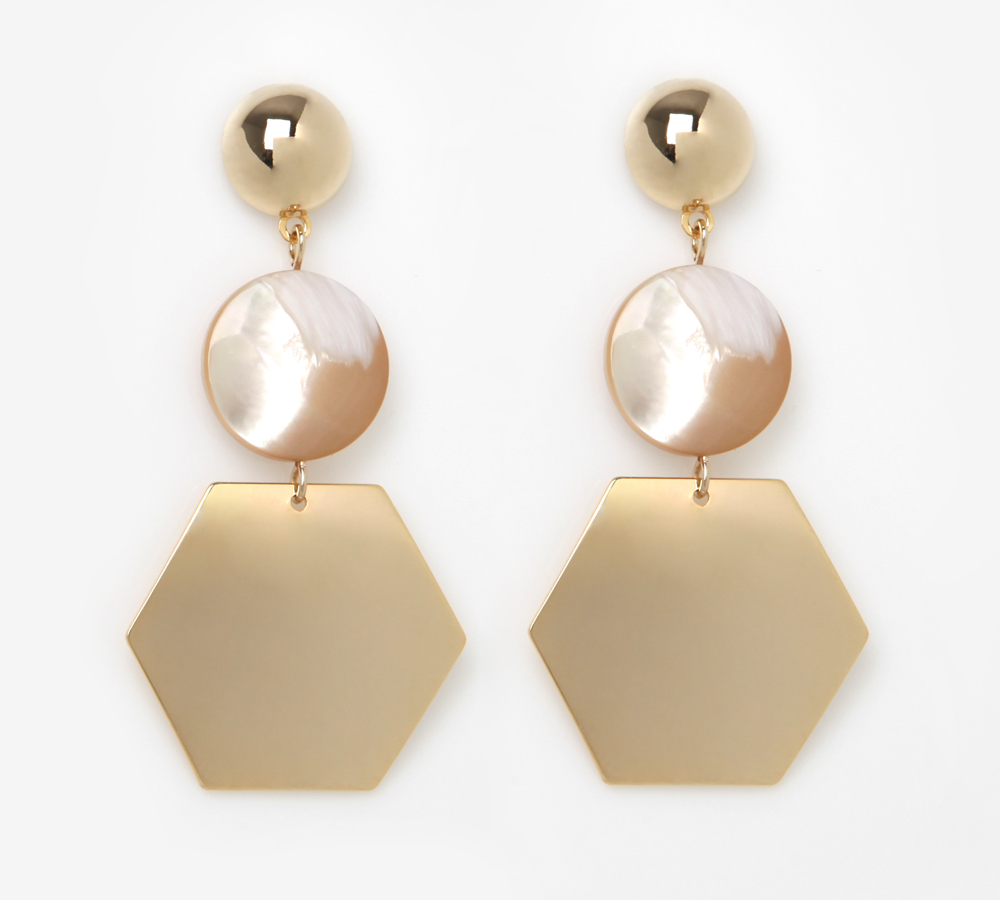 엔틱 육각 드롭 귀걸이 (Antique Hexagonal Drop Earrings)